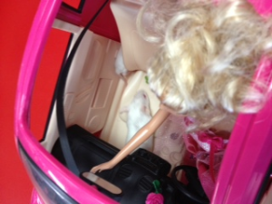 Item 81-  IMAGE: A live mouse, as a passenger in Barbie's car.