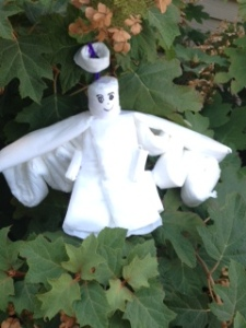 Item #130- IMAGE. An angel made from feminine hygiene products - Rachel Shelby 31 POINTS