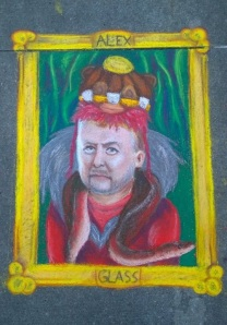 """Item #83- IMAGE. The writers and producers of the TV series, """"Supernatural"""", sometimes pretend they don't like the limelight. Of course this is false-modesty. Immortalize one of them with a stately portrait done in sidewalk chalk art. This was done by one of my amazing teammates Ali Davis"""