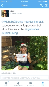 "ITEM 120. IMAGE- Stand in front of your garden holding up a sign with your best unorthodox or hard to believe gardening tip for the First Lady of the United States. Tweet it to @MichelleObama and include ""@gishwhes"" and ""#gardeninghack"""